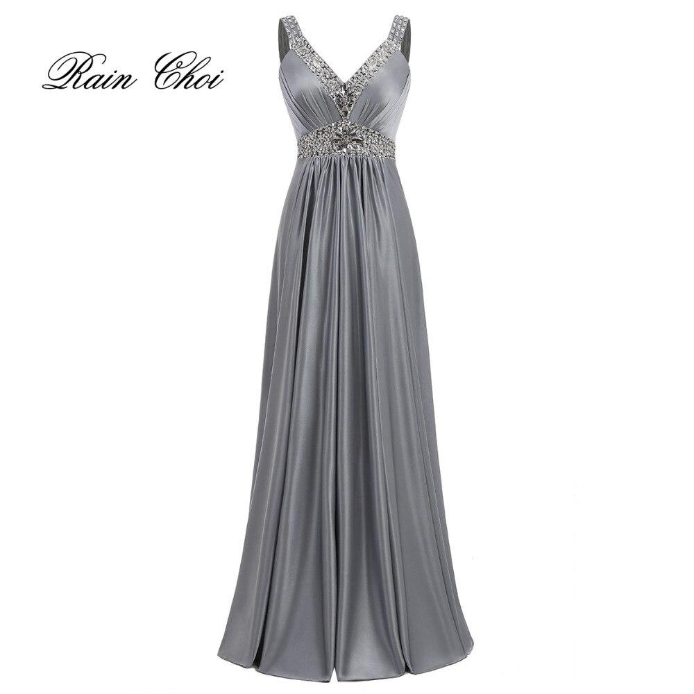 Vestido De Festa A-Linie Satin Langes Abendkleid 2016 Vestido Longo - Kleider für besondere Anlässe