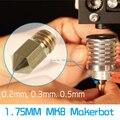 5 шт. Reprap Prusa i3 3D Принтер Латунь Медь M6 Сопла Смешанные 0.2/0.3/0.4/0.5 мм Экструдера в Течение 1.75 ММ MK8 Makerbot ABS PLA Принтера