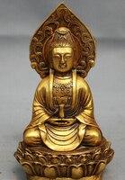 0 Chinese Bronze Gilt Buddhism Pot Lotus Kwan yin GuanYin Buddha Goddess Statue