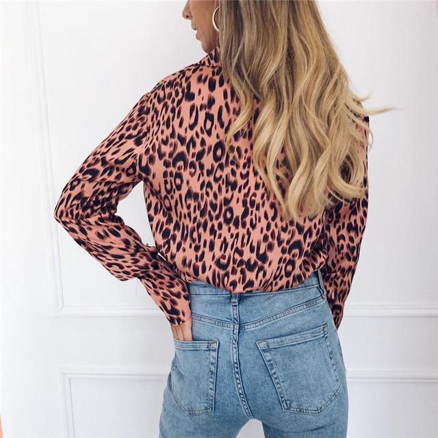 Women Blouses Autumn Vintage Leopard Blouse Long Sleeve Turn Down Collar Lady Office Shirt Loose Tops Plus Size Blusas Chemisier 3