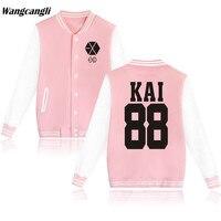 2017 przycisk Kpop EXO Bluzy Kobiety Mężczyźni Harajuku kurtka Baseballowa bombowiec kurtki jaquetas casaco feminino Różowa Bluza Jednolite