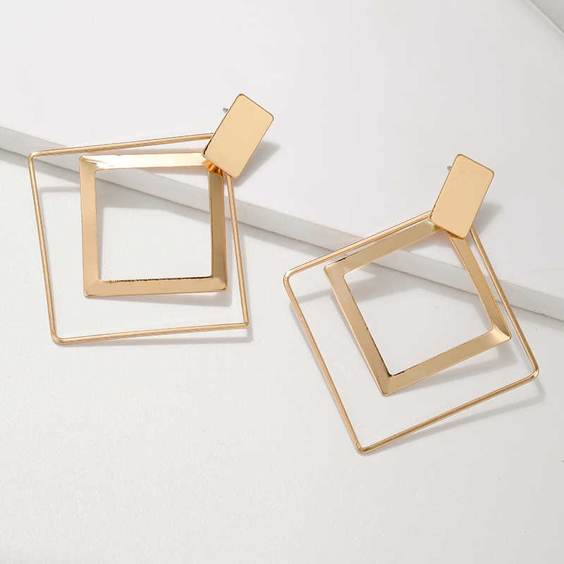 Korean New Trendy Big Earrings Geometric Square Dangle Drop Earrings For Women Statement Earings Fashion Jewelry 2019 Oorbellen