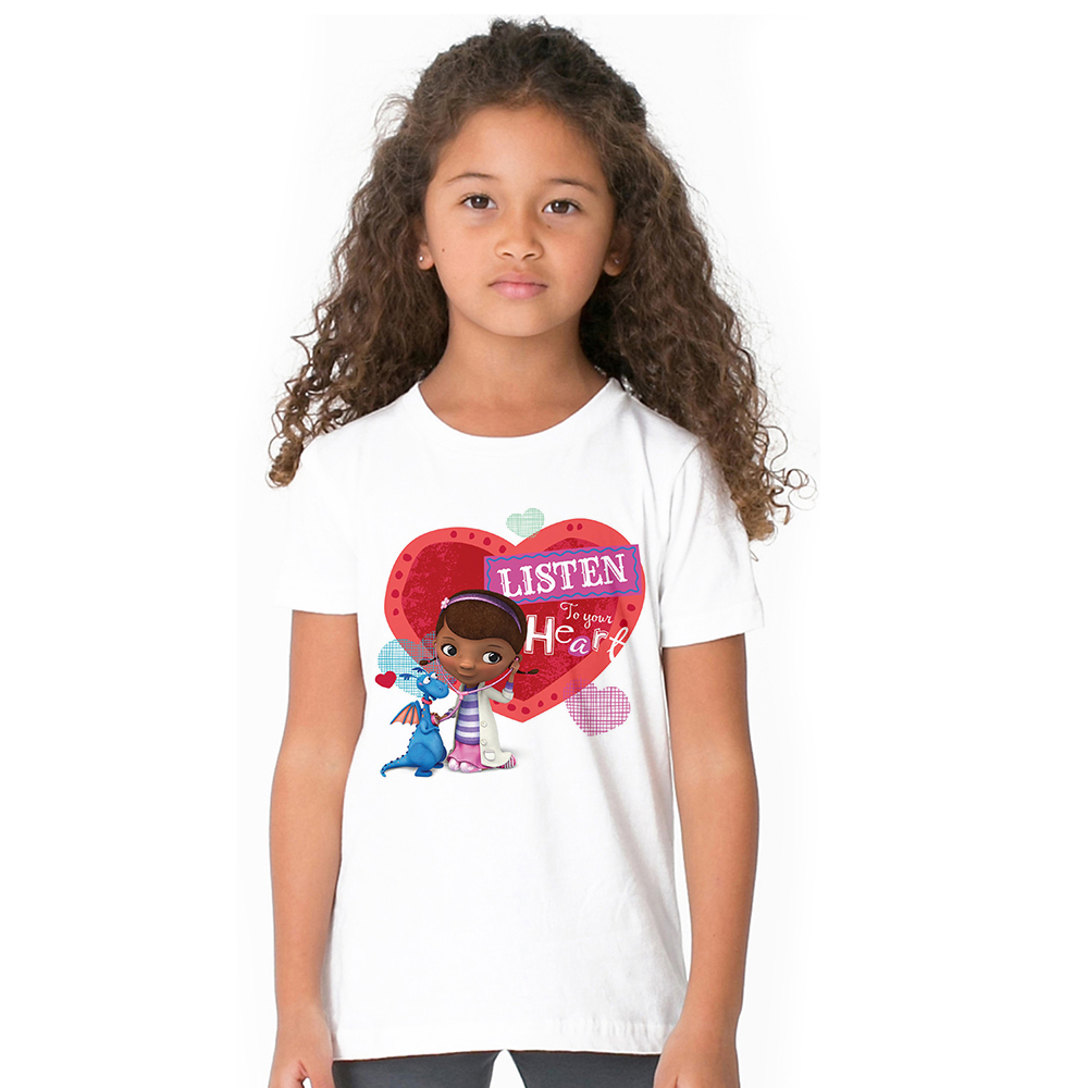 Doc Mcstuffins Girl T Shirt Cartoon Doctor Toy Hospital Kids T-shirt Summer Anime Baby Tops Fashion Baby Clothes for Children
