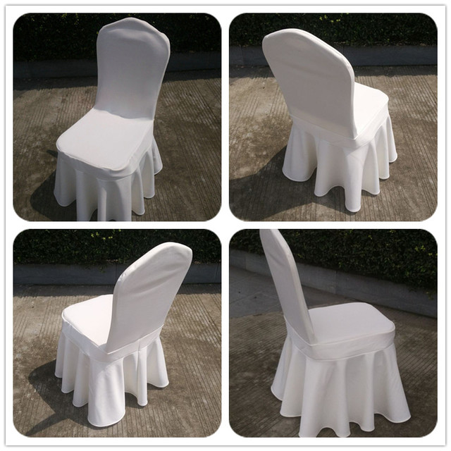 WedFavor 50pcs White Swag Bottom Spandex Skirt Chair Covers Pleated Lycra  Stretch Sundress Chair Covers For