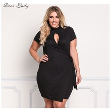 Deer Lady Plus Size 2017 Dresses Big Size Summer Dresses Women Short Sleeve Bodycon Dress Sexy Key Hole Dress Mini Over Size(China)