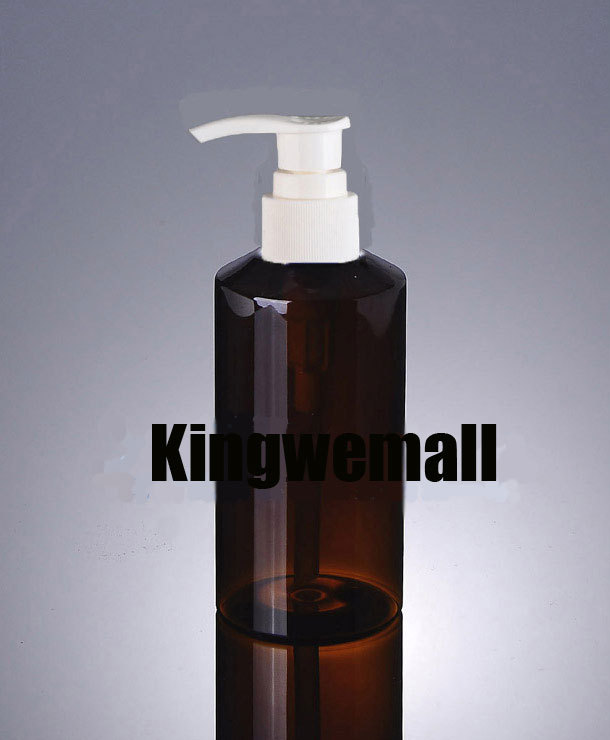 Wholesale 300pcslot  Capacity 150ml Empty PET Lotion Brown Bottle with White Pump For Cosmetic Packaging XCI09
