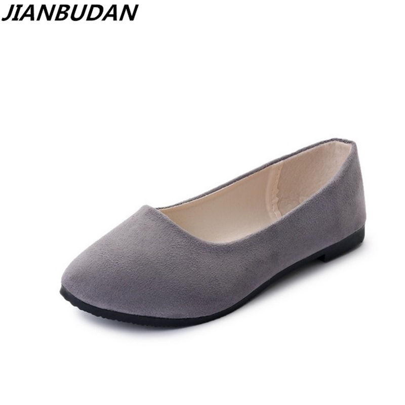 JIANBUDAN Women flat heels spring summer 2018 new casual flat shoes solid everyday shoes Ballet flat shoes size 35-43