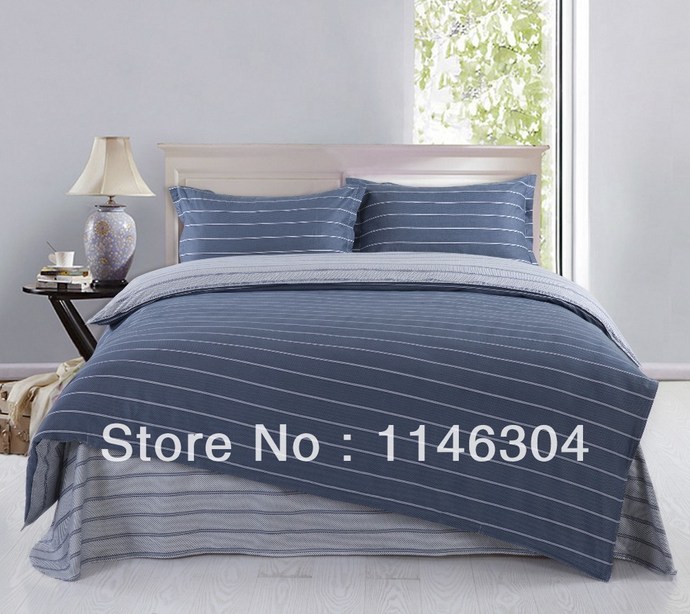 4pcs slate blue small stripe cotton bedding set bed