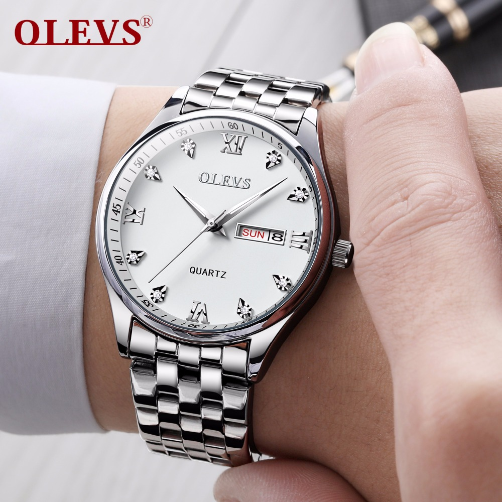 OLEVS Brand Quartz Men Watches Automatic Calendar Watch Stainless Steel Diver Swim Water Resistant Wrist Watch relojes hombre все цены