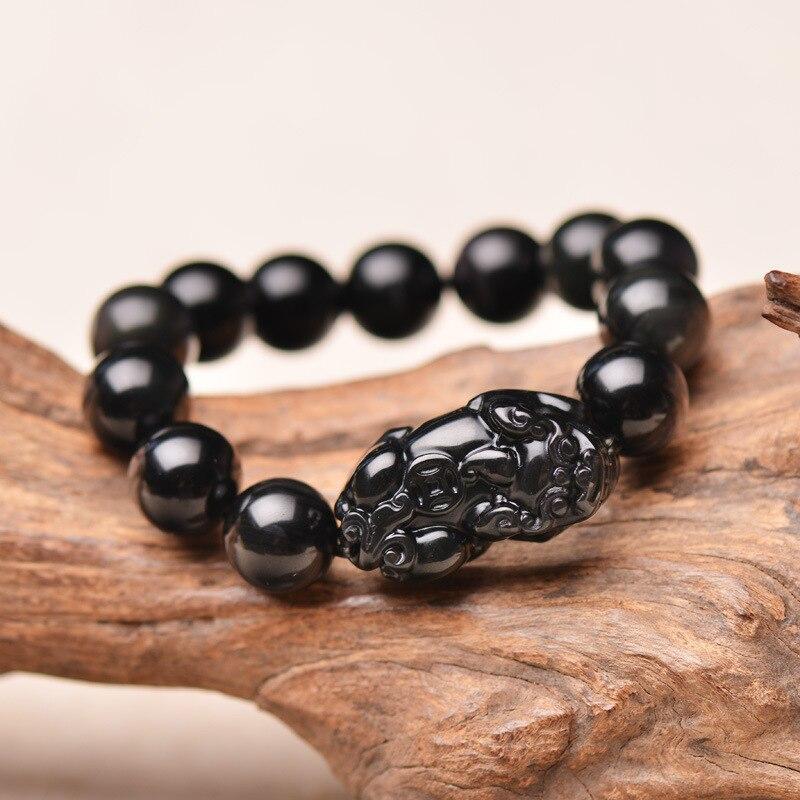 Natural Black Obsidian Bracelet Round Beads Bracelet PIXIU Bracelets Bangles Gift for Grentam Men's Jade Jewelry