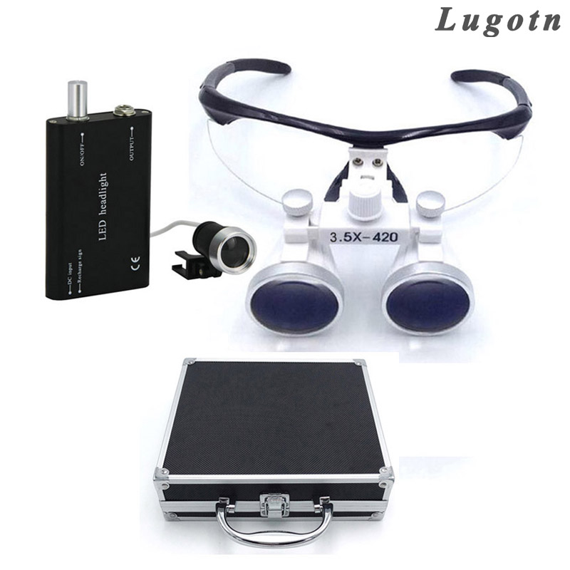 Metal box 3.5X times oral dental loupe with headlight antifog lens adjustable distance easy fixed surgical operation magnifier 2 5x times enlargement magnifying lens loupe glasses surgical operation magnifier adjustable sizable dental loupe