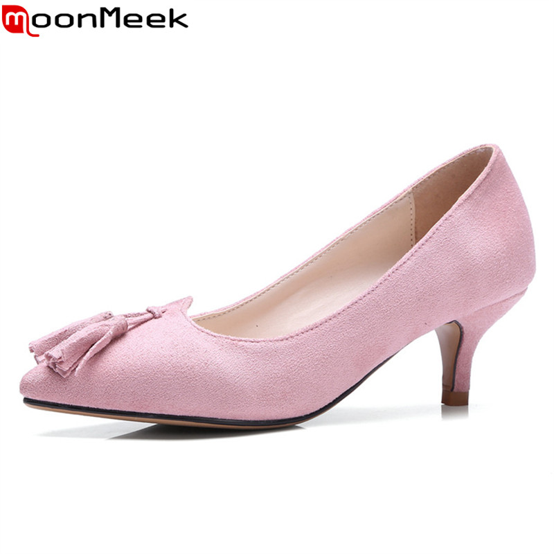 MoonMeek new arrive spring summer female pumps high heels pointed toe thin heel shallow party wedding flock pumps women shoes wholesale lttl new spring summer high heels shoes stiletto heel flock pointed toe sandals fashion ankle straps women party shoes