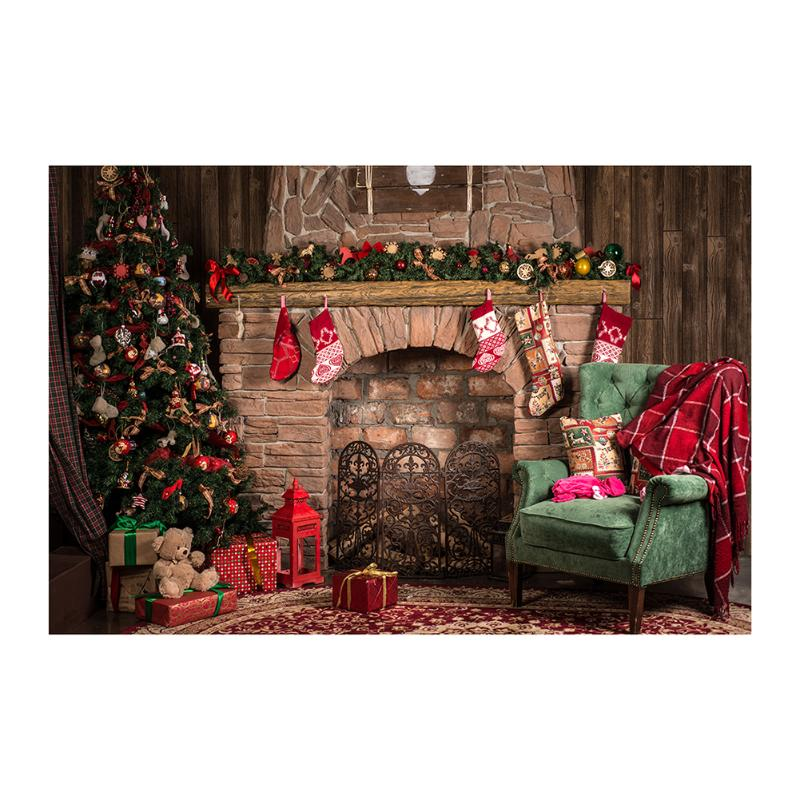 Alloyseed 3x5ft Retro Christmas Fireplace Studio Photo Backdrop Photography Props background of picture 3D effect allenjoy christmas backdrop tree gift chandelier fireplace cute professional background backdrop for photo studio