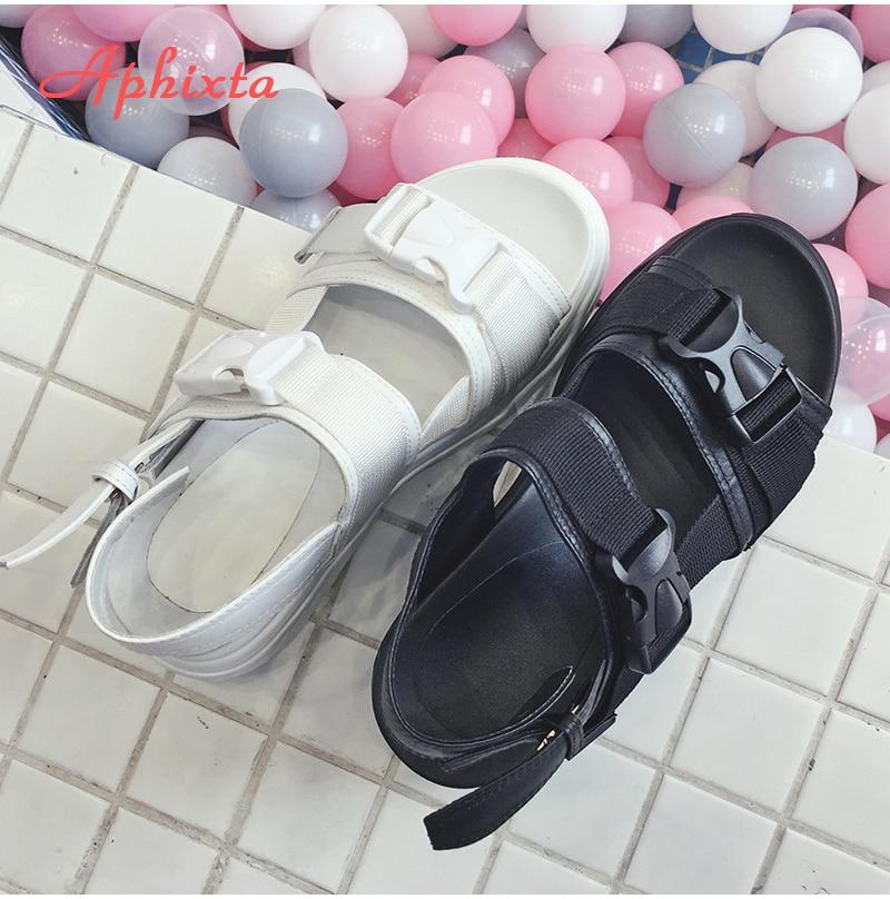 HTB1rdK0X6nuK1RkSmFPq6AuzFXa2 Aphixta 8cm Platform Sandals Women Wedge High Heels Shoes Women Buckle Leather Canvas Summer Zapatos Mujer Wedges Woman Sandal