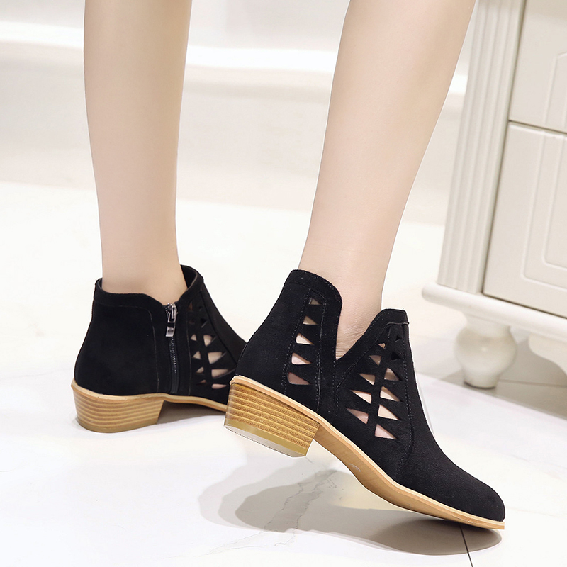 Rimocy 2019 spring hollow out single shoes woman faux suede round toe square heels pumps women 4cm med heels casual shoes femme 42