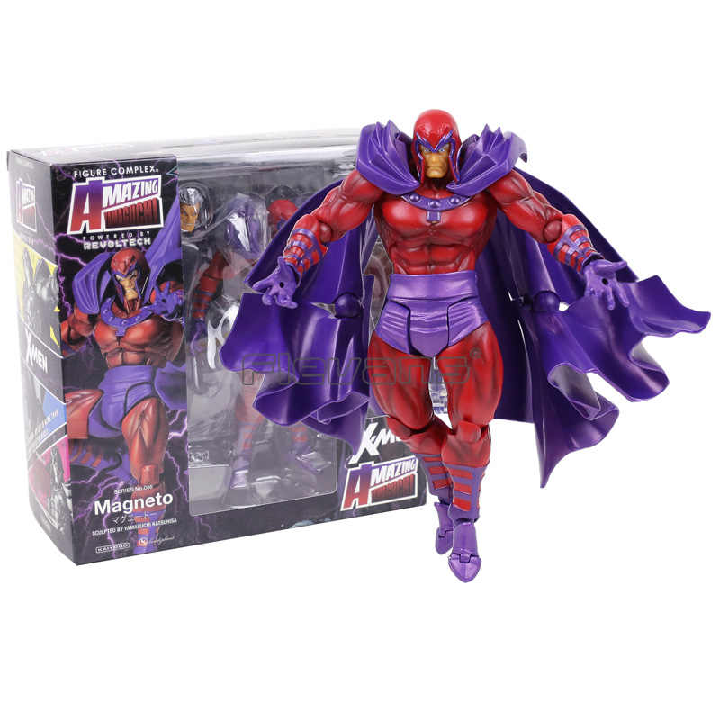 Revoltech série no.006 magneto pvc action figure collectible modelo brinquedo