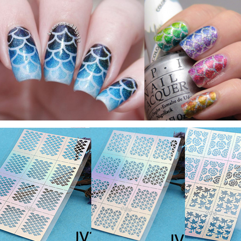 12 tipssheet fish scale nail vinyls irregular triangle grid 12 tipssheet fish scale nail vinyls irregular triangle grid pattern easy use nail art tips manicure stencil nail hollow sticker in stickers decals from prinsesfo Choice Image