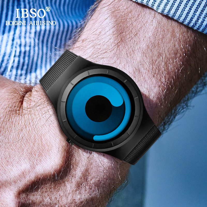 IBSO Brand Fashion Creative Mens Armbandsur 2019 Rostfritt Stål Band Quartz Sport Klocka Män Relogio Masculino Man Clock