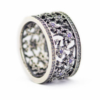 925 Silver Jewelry Rings for Women Forget Me Not Flower Silver Ring Size 52 58# Genuine 925 Sterling Silver Jewelry