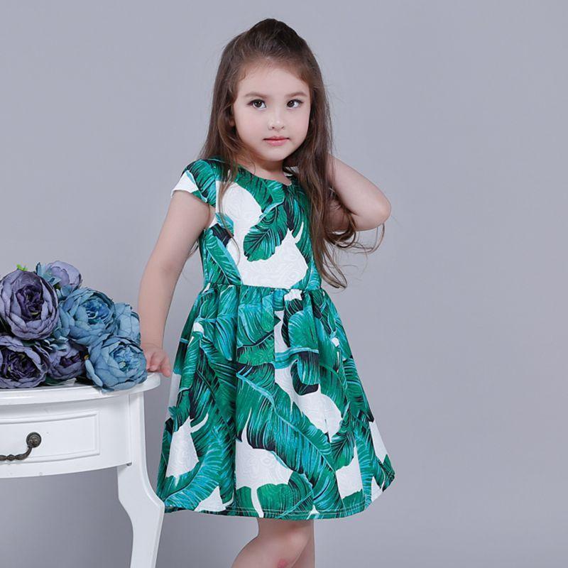 Girl Dress European Banana Leaf Brand Princess Garment Holiday Party Wedding Toddler Kids Children New Year Pageant Sunny