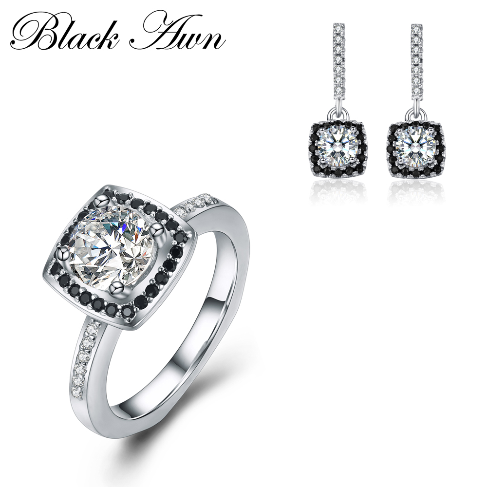[BLACK AWN] 925 Sterling Silver Fine Jewelry Sets Trendy Engagement Earring for Women Wedding Ring TR051 [black awn] 925 sterling silver fine jewelry set trendy engagement wedding necklace earring for women pt161