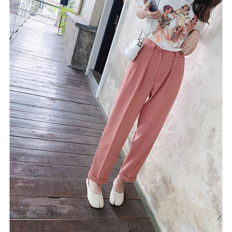 Mishow Female   Wide     leg     pants   2019 summer New fashion high-waist version of pink loose trousers women casual   pants   MX19B2583