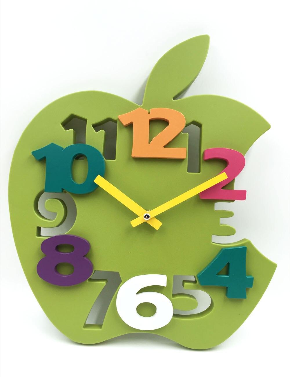 Brand Hippih Mute 3d Apple Shaped Wall Clock 3429cm Hot Sale Reloj