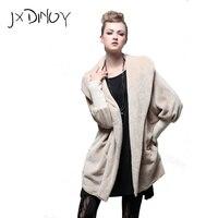 JXDINOY vrouw elegante herfst & winter Bontjas Vrouwen zwart & khaki losse lange mouw Jasje JS003