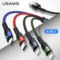 USAMS 3 в 1 Micro USB кабель 3A Тип C кабель для iPhone кабель USB C зарядный кабель 4 в 1 шнуры для iPhone 6 6s 7 8 x xs Samsung