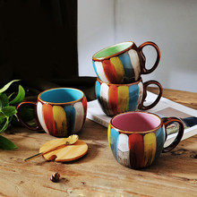 Creative Ceramic Mug Coffee Cup With Lid Fashion Milk Personality Hand Painting Color Couple Breakfast Funny Mugs