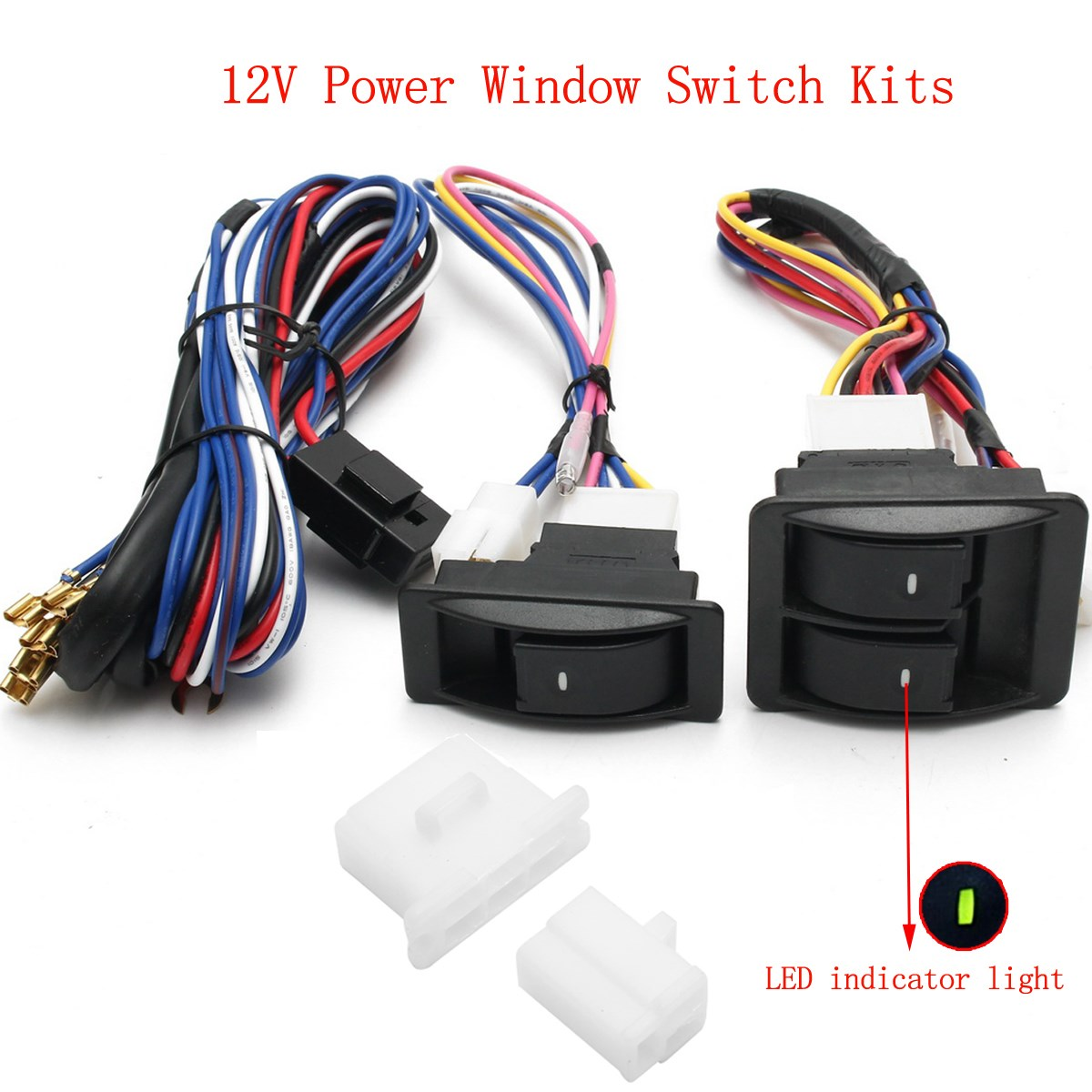 6pcs 12v universal power window switch kits with installation wiring harness [ 1200 x 1200 Pixel ]