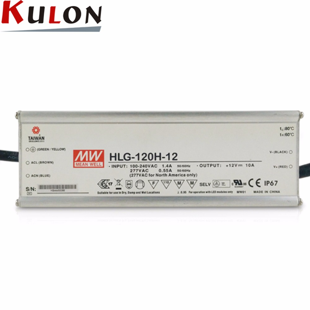 Meanwell Driver HLG-120H-12 120W 10A 12V LED Power Supply waterproof 7 years warranty meanwell waterproof switch power lplc 18 700 2 years warranty original