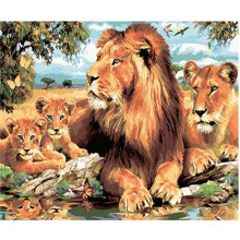 WONZOM Lion Family-DIY Oil Painting By Numbers kit,Acrylic Paint,Canvas Painting, Paint 40x50cm