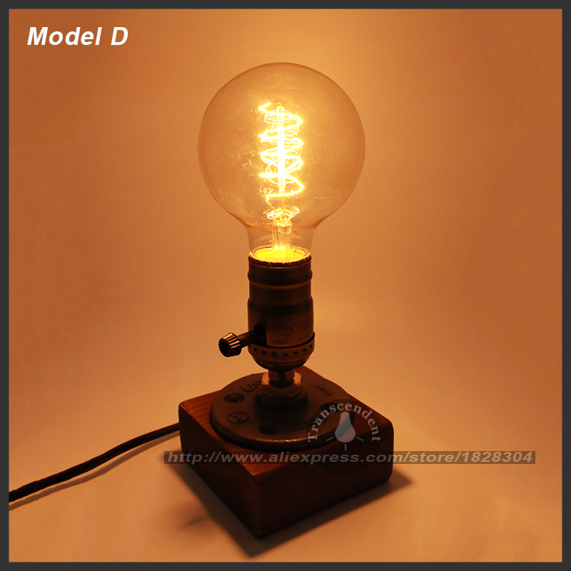 High Quality Retro Coffee Shop Table Lamp Wood Vintage Desk Lamp Dimmable 40W Edison  Bulb 220V Bedroom Bar ...