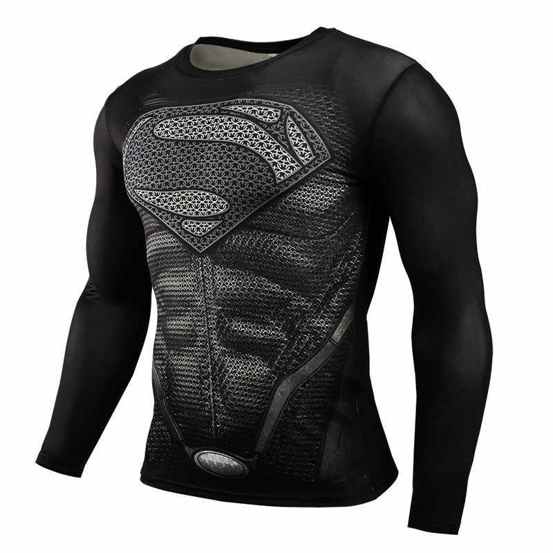 Camisetas divertidas de castigador 3D impreso camiseta hombres Fitness correr camisa secado Fit compresión medias de manga larga Rashguard hombres gimnasio top
