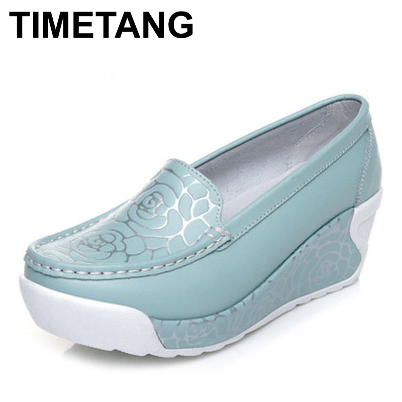 TIMETANG New spring summer style soft women genuine leather shoes fashion print women pumps shoes for women sapato feminino Pump