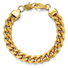 цена на Hip Hop Mens Bracelet Chain Polished Stainless Steel Gold Color Chains Bracelet for Men Curb Cuban Link 5/8/10mm T1306