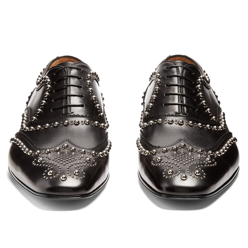 Black Leather Men Dress Shoes Rivets Lace Up Loafers Men Driving Flats Business Wedding Dress Shoes zapatos hombre - 3