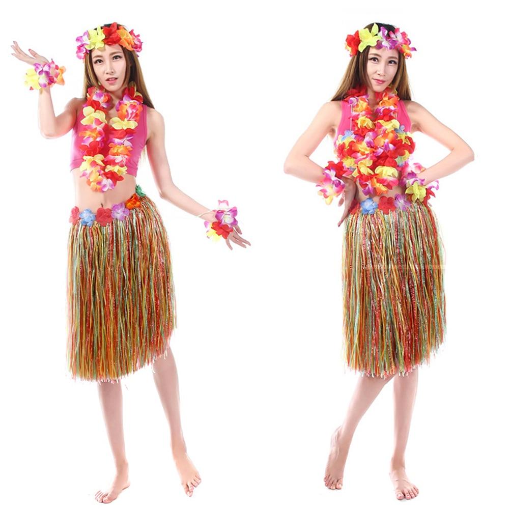 8 Colors Adult Hawaiian Grass Skirt Costumes 60CM Flower