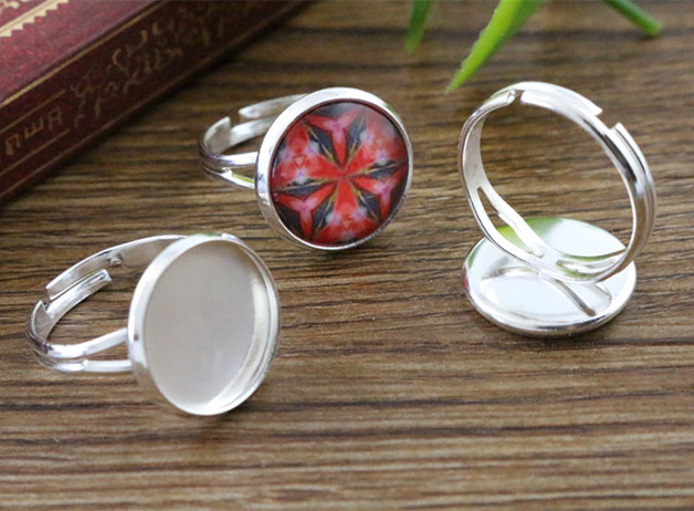Adjustable Y shaped Ring Blank Bezel Setting Tray for Cameo Cabochons Antique AG