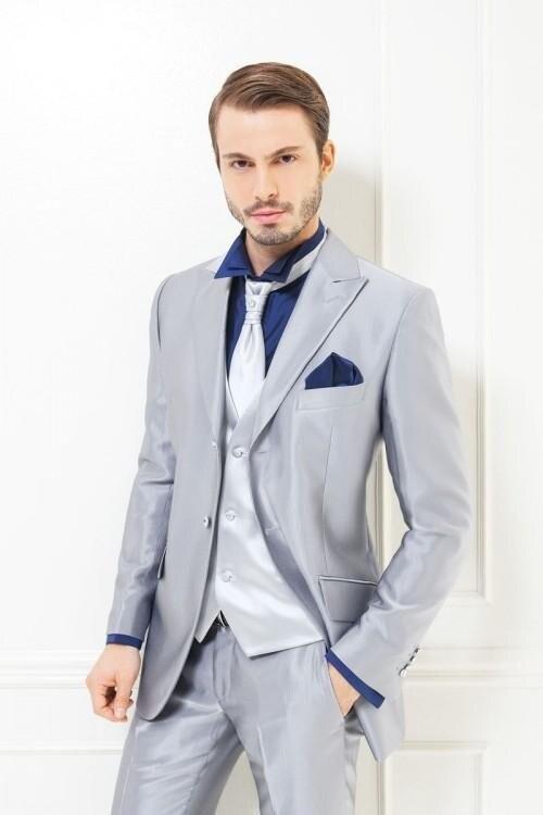 2017 Silver Wedding Suits For Men Tuxedos Daily Work Wear Elegant Men Suits Business Men Prom Blazer (Coat+Pants+Tie+Vest)