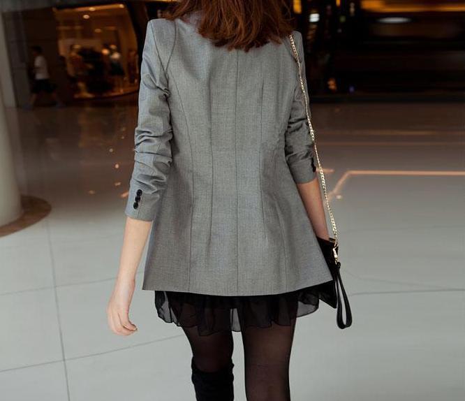 XXXL Новая мода весна лето женская верхняя одежда тонкий Длинный блейзер черный серый офис леди пальто