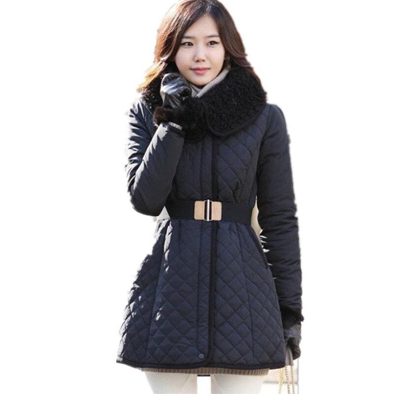 New 2016 Women Winter Coat Wadded Jacket Medium Long Parka Fur Collar Adjustable  Waist Female Snow Wear  abrigos YY30