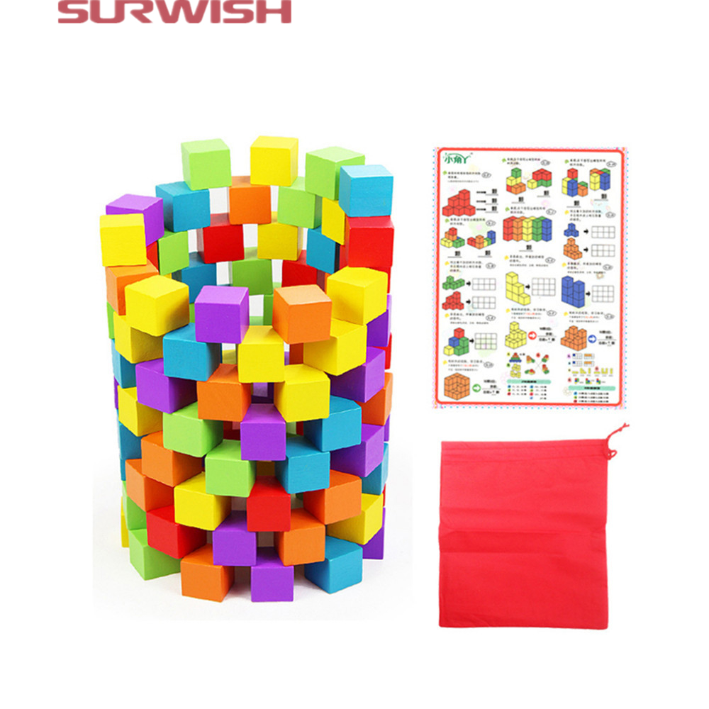 Surwish 100Pcs Colorful Wooden Cube Blocks Set for Kids Play Intelligence Building and Stacking Blocks Education Toy 200pcs set rainbow colored wooden kids toy children game play toys dominoes games education birthday gift building toy blocks