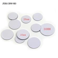 10 개/몫 13.56MHZ/125KHZ RFID 코인 태그 30/25/20mm 직경 코일 초박형 슬림 NFC 코인 태그