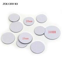 10 pz/lotto 13.56MHZ/125KHZ RFID tag Moneta 30/25/20 millimetri di diametro bobina ultra sottile sottile NFC tag moneta