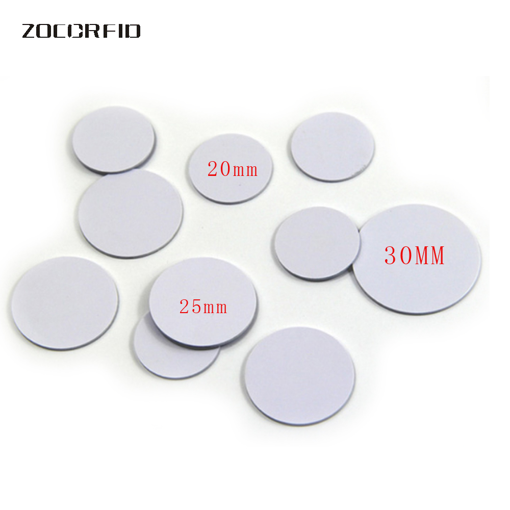 10pcs/lot 13.56MHZ/125KHZ  RFID Coin Tag 30/25/20mm Diameter Coil Ultra Thin Slim NFC Coin Tag