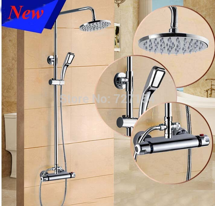 Modern Wall Mounted Rainfall Shower Faucet Thermostatic Valve W/ Handheld Shower modern thermostatic shower mixer faucet wall mounted temperature control handheld tub shower faucet chrome finish