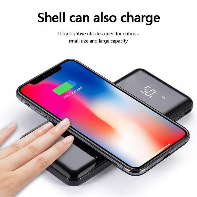 QI inalámbrico batería externa del Banco de potencia banco incorporado inalámbrico cargador banco de energía portátil cargador portátil para iPhone Samsung