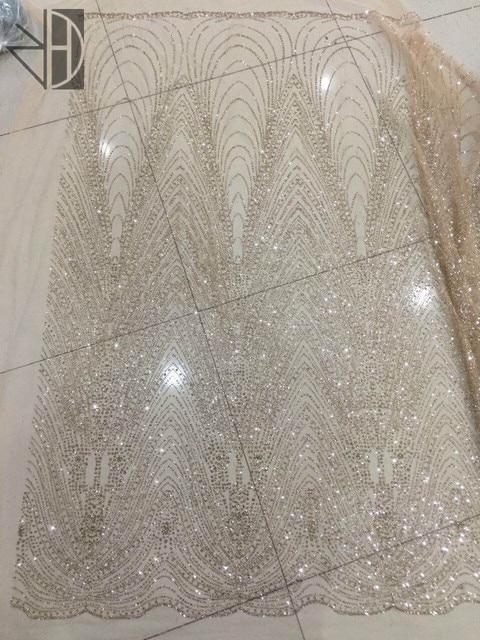 tela de encaje de purpurina de tul dorado para vestido de novia s